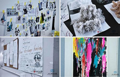 教室里摆放和张贴着同学们各自的作品,包括动画、摄影、插画、珠宝、服装等